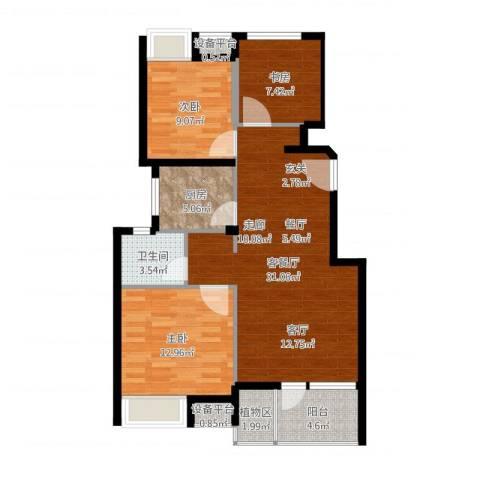 景瑞理想之光3室2厅1卫1厨77.08㎡户型图