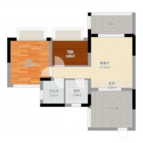 聚福豪苑2室2厅1卫1厨56.22㎡户型图