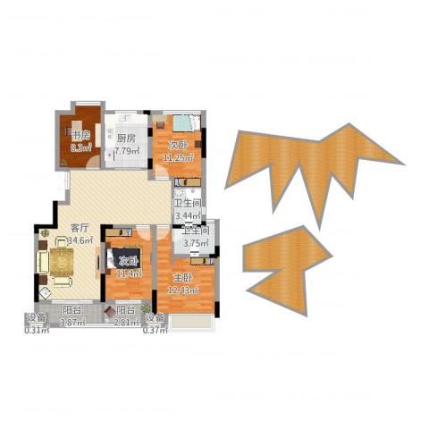 虎豹郡王府4室1厅2卫1厨168.00㎡户型图