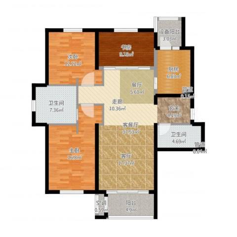 锦湖・金色世家3室2厅2卫1厨129.00㎡户型图