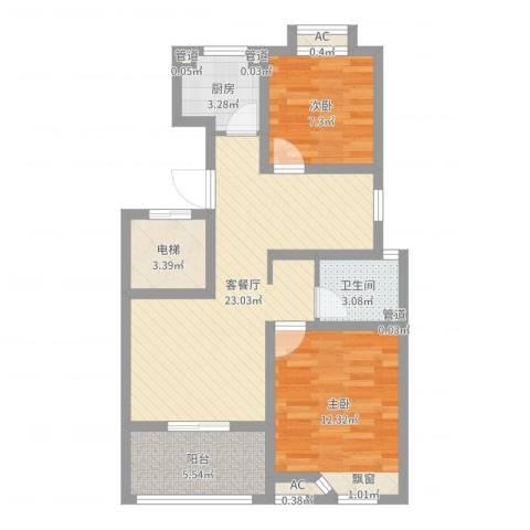 滨湖御景湾2室2厅1卫1厨74.00㎡户型图