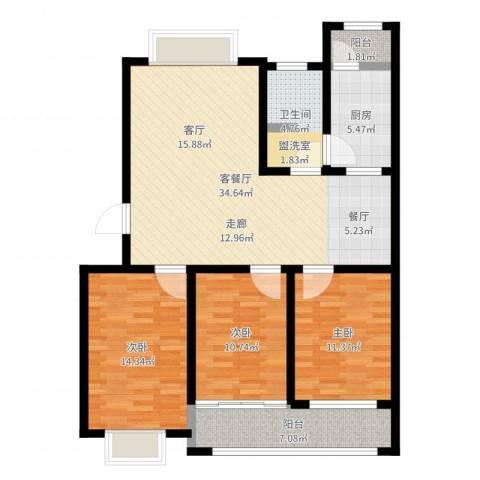 欣雅小区3室2厅1卫1厨113.00㎡户型图