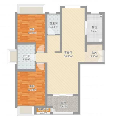 绿地21城C区2室2厅2卫1厨98.00㎡户型图