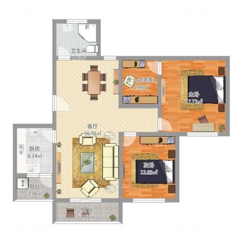 天水家园2室1厅1卫1厨115.00㎡户型图