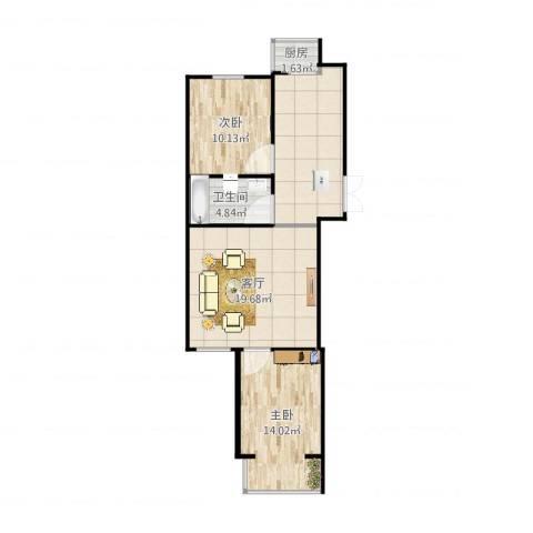翠屏北里西区2室1厅1卫1厨79.00㎡户型图