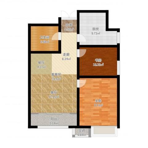 宇泰泰悦2室2厅1卫1厨102.00㎡户型图