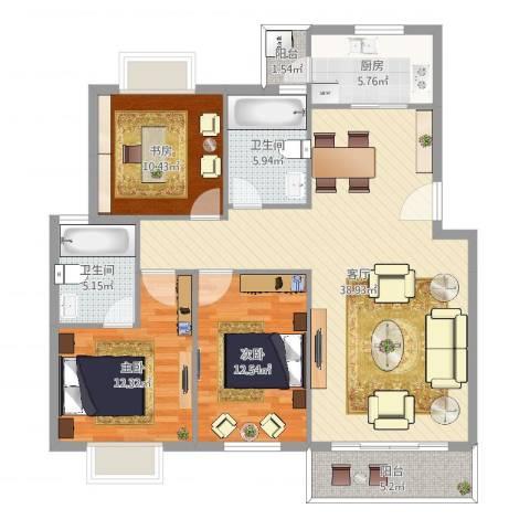 天沁家园3室1厅2卫1厨122.00㎡户型图