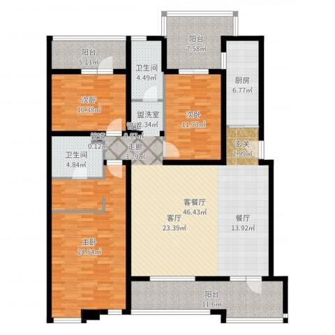 万科惠斯勒小镇3室2厅2卫1厨167.00㎡户型图