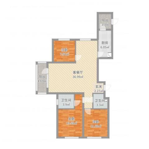 格林馨港湾3室2厅2卫1厨114.00㎡户型图