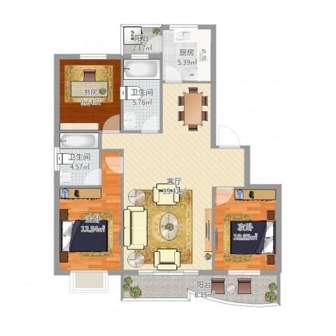 银桂公寓3室1厅2卫1厨118.00㎡户型图