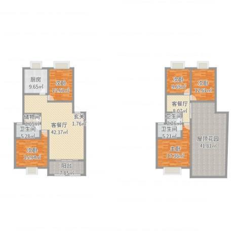 奕翠园二期5室4厅3卫1厨192.73㎡户型图