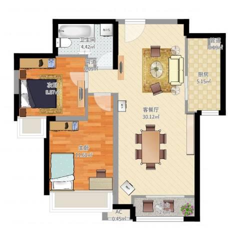 振业城中央2室2厅1卫1厨79.00㎡户型图