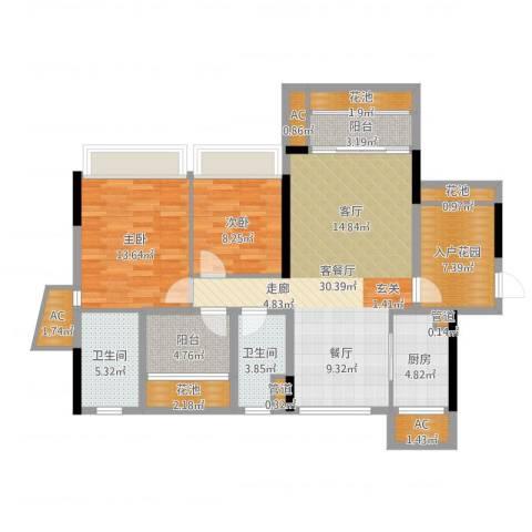 乐湾首府2室2厅2卫1厨114.00㎡户型图