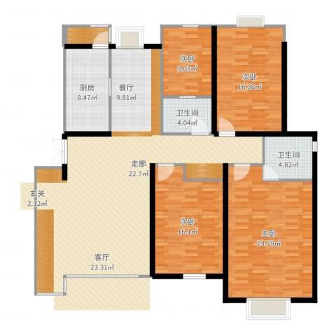 群星国际新城4室1厅3卫1厨174.00㎡户型图