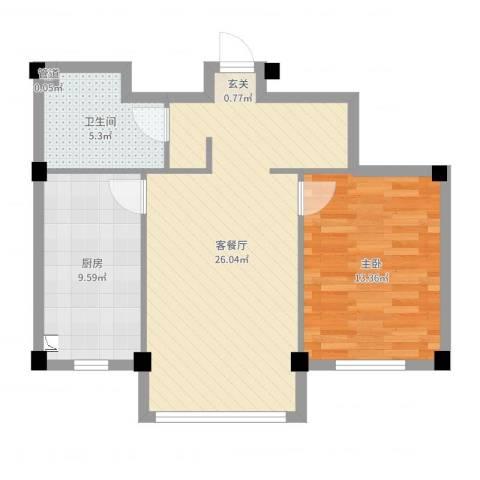 龙脉海景花园1室2厅1卫1厨68.00㎡户型图