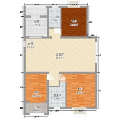 中邦城市3室2厅2卫1厨134.00㎡户型图