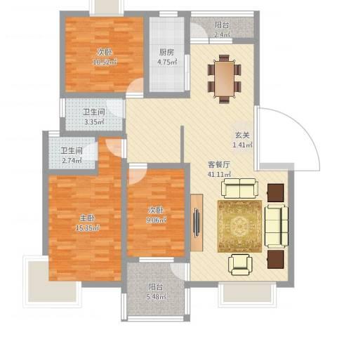 河畔花城3室2厅2卫1厨118.00㎡户型图
