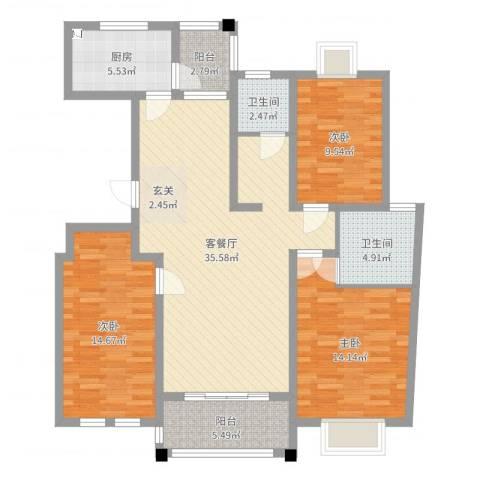 仁和英伦皇家花园3室2厅2卫1厨119.00㎡户型图