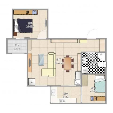 汇锦苑2室1厅1卫1厨73.00㎡户型图
