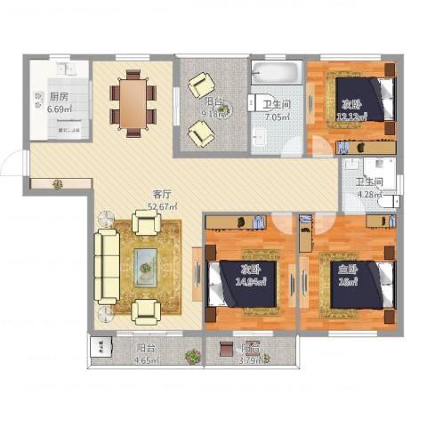 祥和嘉苑三室两厅两卫3室1厅2卫1厨164.00㎡户型图