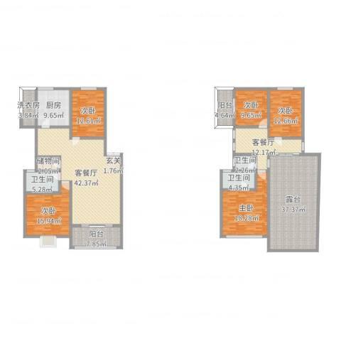 奕翠园二期5室4厅3卫1厨200.98㎡户型图