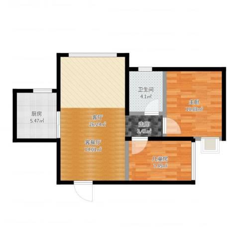 蜜橙2室1厅1卫1厨68.00㎡户型图