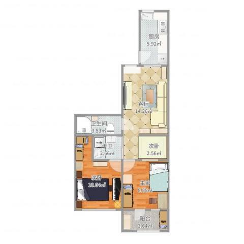 永乐东小区3室1厅1卫1厨65.00㎡户型图