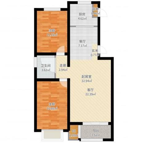 龙栖江南2室1厅2卫1厨88.00㎡户型图