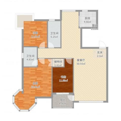 中央公馆3室2厅2卫1厨148.00㎡户型图