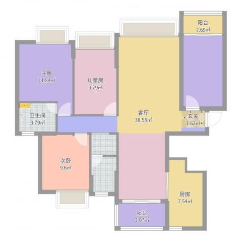 半岛豪庭三期名著3室1厅1卫1厨128.00㎡户型图