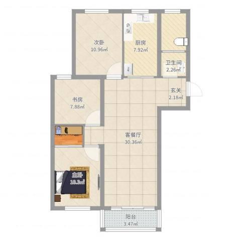 万泰香河佳园3室2厅1卫1厨98.00㎡户型图