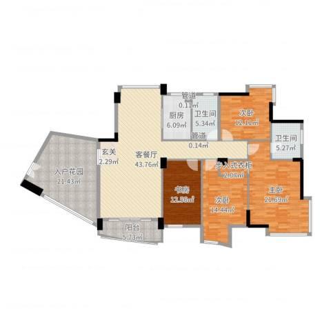 星河传说旗峰天下紫薇苑4室2厅2卫1厨188.00㎡户型图