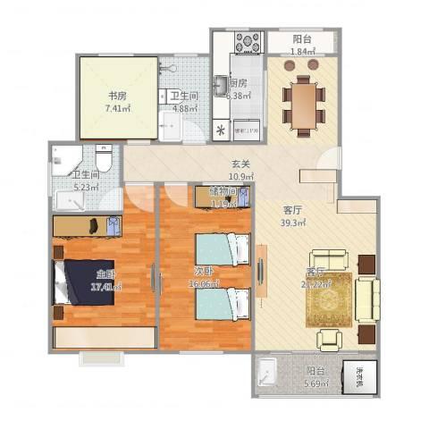 南环花苑3室1厅2卫1厨125.00㎡户型图