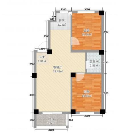 丽景国际2室2厅1卫0厨75.00㎡户型图