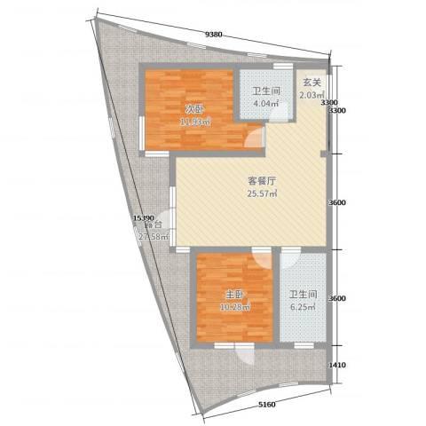 海天翼2室2厅2卫0厨116.00㎡户型图