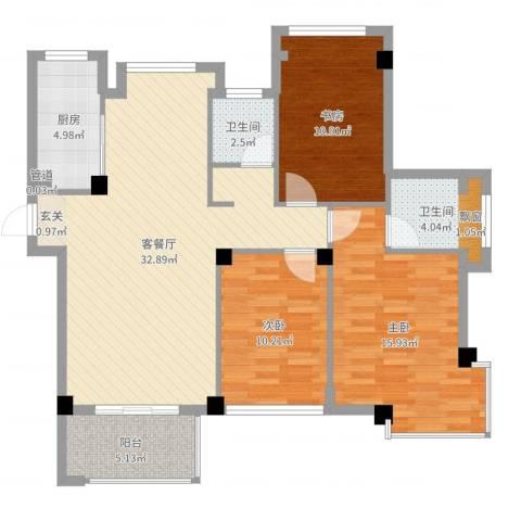 亚特蓝郡3室2厅2卫1厨108.00㎡户型图