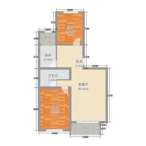 森驰金色河畔2室2厅1卫1厨96.00㎡户型图