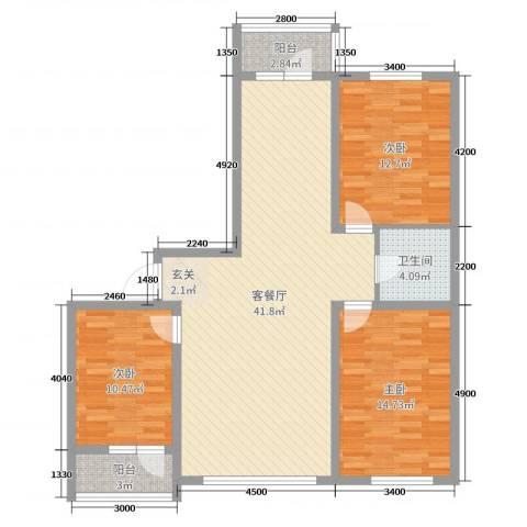 森驰金色河畔3室2厅1卫0厨118.00㎡户型图