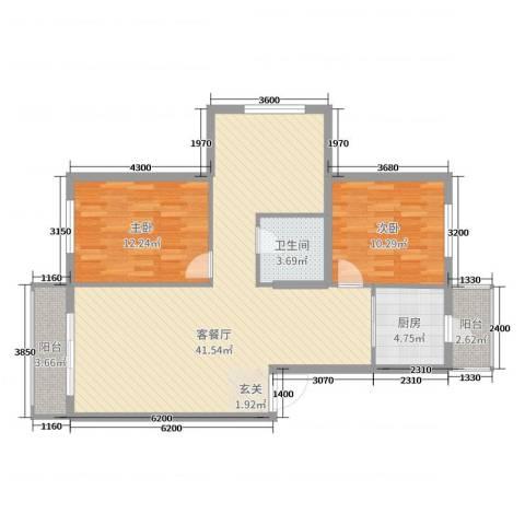 住建一品2室2厅1卫1厨100.00㎡户型图