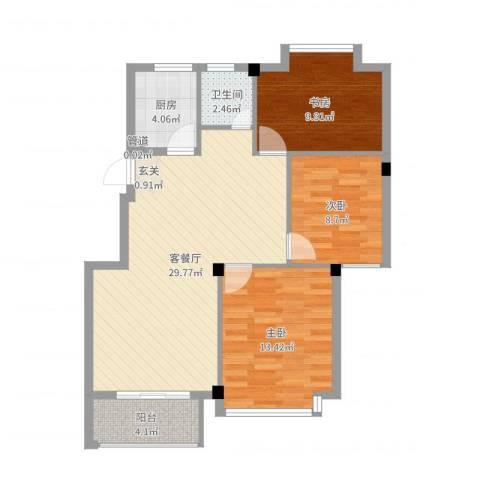亚特蓝郡3室2厅1卫1厨91.00㎡户型图