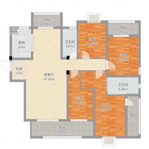 华府豪庭二期4室2厅2卫1厨184.00㎡户型图