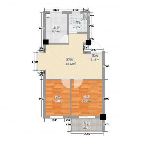 丽景国际2室2厅1卫1厨62.00㎡户型图