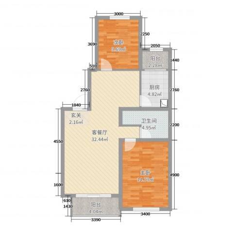 森驰金色河畔2室2厅1卫1厨99.00㎡户型图