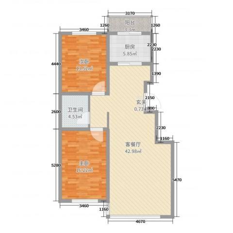 双兴六月天2室2厅1卫1厨108.00㎡户型图