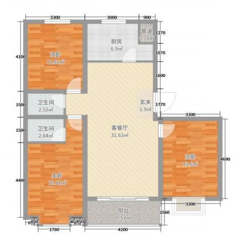 白金汉府3室2厅2卫1厨136.00㎡户型图