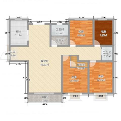 白金汉府4室2厅2卫1厨156.00㎡户型图