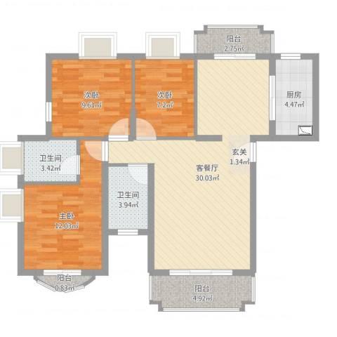 新君汇花地湾3室2厅2卫1厨99.00㎡户型图