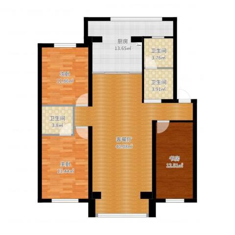 月潭半山洋房3室2厅3卫1厨129.00㎡户型图