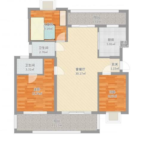 熊猫国际新城3室2厅3卫1厨112.00㎡户型图