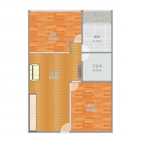 阳光假日公寓72㎡2房2室2厅1卫1厨90.00㎡户型图